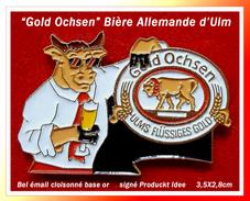 """SUPER PIN'S Bière : """"GOLD OCHSEN"""" La Bière Allemande Au TAUREAU Depuis 1597, Région De ULM émail Cloisonné Or, 3,5X2,8cm - Beer"""