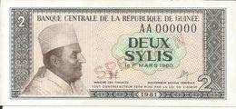 Billets Spécimens De Guinée Conakry Type P 21 Deux Sylis - Guinea