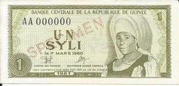 Billets Spécimens De Guinée Conakry Type P 20 Un Syli - Guinea
