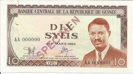 Billets Spécimens De Guinée Conakry Type P 16 Dix Sylis - Guinea
