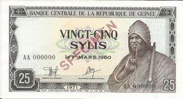 Billets Spécimens De Guinée Conakry Type P 17 Vingt Cinq Sylis - Guinea