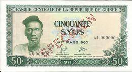 Billets Spécimens De Guinée Conakry Type P 18 Cinquante Sylis - Guinea
