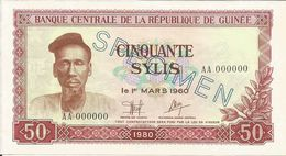 Billets Spécimens De Guinée Conakry Type P 25 Cinquante Sylis - Guinea