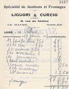 Facture: Liguori & Curcio - Le Havre 76 - Spécialité De Jambons Et Fromages. Facture De 1934 - Food