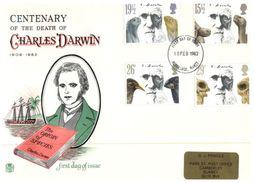 (300) UK FDC Cover - Charles Darwin 1982 - FDC