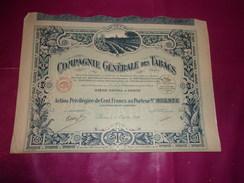 COMPAGNIE GENERALE DES TABACS (100 Francs) 1927 - Non Classés