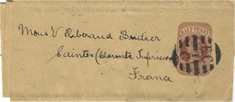 1898- Wrapper E P Half Penny  From London To Saintes ( Charente Maritime ) Very Nice Cancellation - Marcophilie (Lettres)