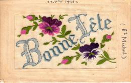 Thematiques 2018 Commemoration Fin De Guerre 1914 1918 CP Brodée Bonne Fête St Michel Cachet Oct 1918 - War 1914-18