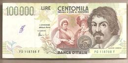 """Italia - Banconota Circolata Da £ 100.000 """"Caravaggio II Tipo"""" - 1997 - [ 2] 1946-… : Républic"""