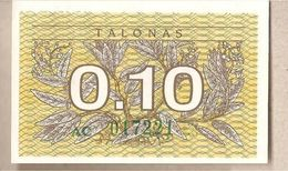 Lituania - Banconota Non Circolata FdS Da 0.10 Talonas - 1991 - Lituanie