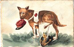 Thématiques 2018 Commémoration Fin De Guerre 1914 1918 CP Fantaisie Dessin Chien Croix Rouge Urinant Sur Casque Allemand - War 1914-18