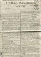 LE HAVRE Feuille D'annonces Judiciaires Commerciales Et Maritimes Avril 1825 - Zeitschriften - Vor 1900