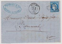 Cérès N° 60 A N° 116 D1 2éme état Mazamet Sur Lettre 2 Scans - 1871-1875 Cérès