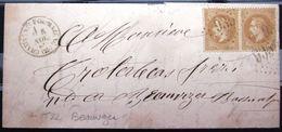 Cachet Type 16 + GC 935 Sur 28A X 2 + T22 BEAUVEZER  --  CHATEAUNEUF DE MAZENC  --  DROME  --  LAC  --  1869 - Storia Postale