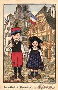 Thématiques 2018 Commémoration Fin De Guerre 1914 1918 Gosses D'Alsace Véritable Dédicace De Hansi 1916.Voir Au Dos - Guerra 1914-18