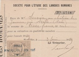 Reçu Montpellier 3/6/1889 Société Pour Etude Langues Romanes De Sernin Jouarres Azille Aude - Timbre Fiscal - France