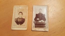 Lot De 2 Photos - CDV - Militaire + Femme  - E. Join Poitiers - F. Dupuis Photographe. Etat Correct - Anciennes (Av. 1900)