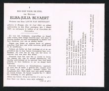 I ELISA - JULIA - BLYAERT Weduwe Van LOUIS VAN SEVENANT OVERLEDEN 3 MAART 1947 BRUGGE - Images Religieuses