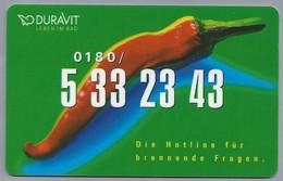 DE.- TELEFONKARTE. DURAVIT LEBEN IM BAD. Die Hotline Für Brennende Fragen. - Duitsland
