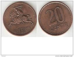 Lithuania 20 Senti 1991 Km 89 Unc !!!!!!! - Lithuania