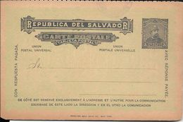 EL SALVADOR ENTERO POSTAL ENTIER INTERO IMPRESO EN HAMILTON BANK NOTE CO. NEW YORK AVEC UNE OBLITERATION PARTIELLE - El Salvador