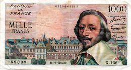 """1000 F """"RICHELIEU"""" - 7/4/1955 (TTB) - 1 000 F 1953-1957 ''Richelieu''"""