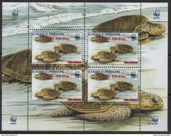 S. Tomé & Principe 2001 / 2009 WWF W.W.F. Faune Fauna Turtle Reptile Schildkröte Overprint Surch. Tortue Mi. I Unissued - Unused Stamps