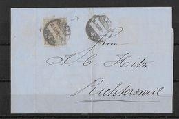 1862-1881 SITZENDE HELVETIA (gezähnt)  → Brief Basel Via Zürich Nach Richtersweil  ►SBK-28◄ - 1862-1881 Sitzende Helvetia (gezähnt)