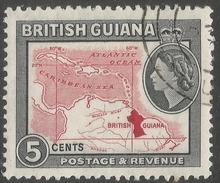 British Guiana. 1963-65 QEII. 5c Used. Block CA W/M SG 356 - British Guiana (...-1966)