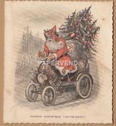 Victorian Greeting Card  Father  Christmas  Up To Date Motor Car  Egc112 - Old Paper