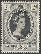 Gilbert And Ellis Islands. 1953 QEII Coronation. 2d MH. SG 63 - Gilbert & Ellice Islands (...-1979)