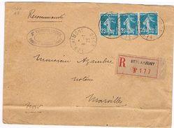 59 BERLAIMONT Lettre Recommandée Avec YT Semeuse Fond Plein 25c YT 140 (3timbres)   (636) - Marcophilie (Lettres)