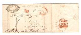 LAC(BMI) C.Anvers 8/7/1842 C.Publicitaire+PF Encadré Par Bateau à Vapeur Pour Londres C.d'arrivée Port 8 PR5084 - 1830-1849 (Belgique Indépendante)