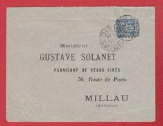Enveloppe  -  De Paris --  Pour Millau  -- 8 Avril 1892 - Marcophilie (Lettres)