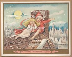 Victorian Greeting Card Angel Boy With Girl On Roof Top  Egc119 - Unclassified