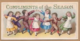 Victorian Greeting Card Angel  Compliments Of The Season Children Playing  Egc121 - Unclassified