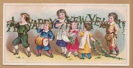 Victorian Greeting Card   Happy New Year  Children Playing  Egc123 - Old Paper