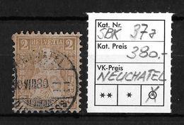1862-1881 SITZENDE HELVETIA (gezähnt)  → SBK-37a Hellrotbraun, Stempel Neuchatel  ►RRR◄ - 1862-1881 Sitzende Helvetia (gezähnt)