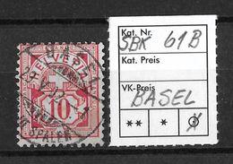 1882-1889 ZIFFERMUSTER FASERPAPIER FORM B → SBK-61B  ►BASEL◄ - 1882-1906 Armoiries, Helvetia Debout & UPU