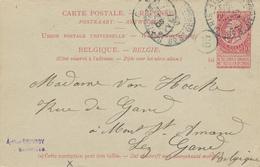037/26 - Entier Postal Fine Barbe Carmin - REPONSE De PARIS 1905 Vers GAND - Entiers Postaux