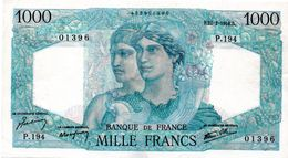 """1000 F """"MINERVE ET HERCULE""""  - 21/2/1946  (sup) - 1871-1952 Anciens Francs Circulés Au XXème"""