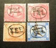 """001- SUDAN - 1897- """" Lotto Timbro Telegrafo Y.t. 1-2-3 """" Quattro Valori Timbrati - Sudan (...-1951)"""