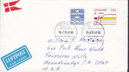 Denmark LUFTPOST Par Avion Label Brotype IId NYBORG 1985 Cover Brief MOUNTAINTOP Pa. USA Europa CEPT Flag Vignette - Briefe U. Dokumente