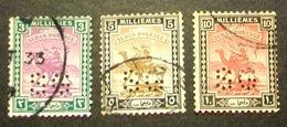 """002- SUDAN - 1922/25- """" Lotto Timbro Servizio Perforati """" Formato Piccolo ,tre Valori Timbrati - Sudan (...-1951)"""