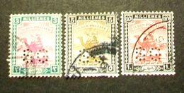 """003- SUDAN - 1922/25- """" Lotto Timbro Servizio Perforati """" Formato Piccolo ,tre Valori Timbrati - Sudan (...-1951)"""