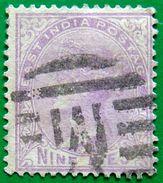 BRITISH INDIA 1874 9p Queen Victoria PALE MAUVE USED - 1858-79 Kolonie Van De Kroon