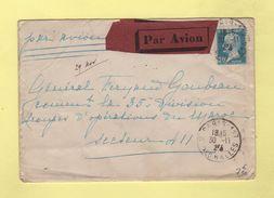 FM + 50c Pasteur Seul Sur Lettre Par Avion Pour Le Secteur 411 - 30-11-1925 Arrivee Le 4-12-1925 - Postmark Collection (Covers)