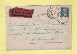 FM + 50c Pasteur Seul Sur Lettre Par Avion Pour Le Secteur 411 - 25-11-1925 Arrivee Le 30-11-1925 - Postmark Collection (Covers)