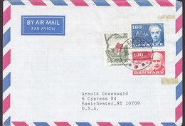 Denmark Air Mail Par Avion Brotype IId RANDERS 1986 Cover Brief EASTCHESTER USA Europa CEPT Krogh & Blixen Complete Set - Briefe U. Dokumente
