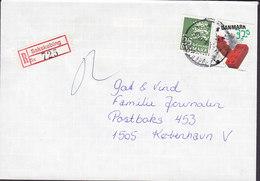 Denmark Registered Einschreiben Recommandé Label SAKSKØBING 1988 Cover Brief Europa CEPT LEGO Stamp - Briefe U. Dokumente